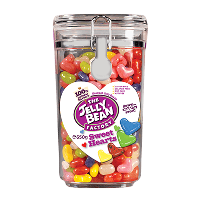 The Jelly Bean Factory Sweet Hearts Glas, 650 g